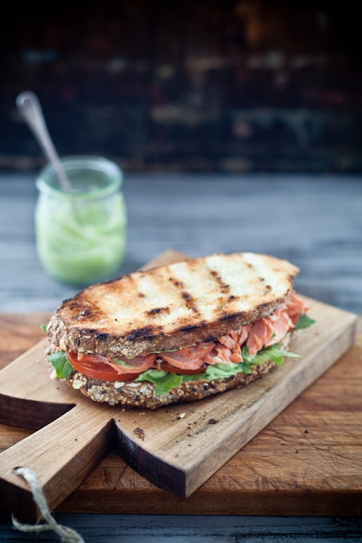 : Grilled Salmon Sandwiches With Pesto Avocado Spread & A Grilled ...