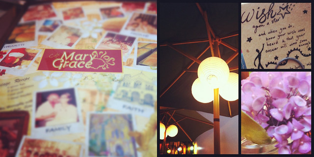 Cafe Mary Grace menu and decor