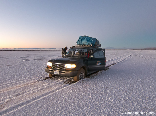 Not the best way to start your day on the Salt Flats