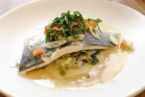 Steamed bass, braised leeks, razor clams, samphire, shellfish dressing