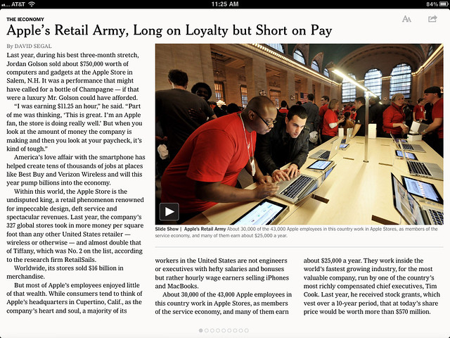 Reading the NYT's Story about Apple Store Employees -- on the iPad of Course