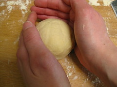 gluten-free brioche buns: shaping ball