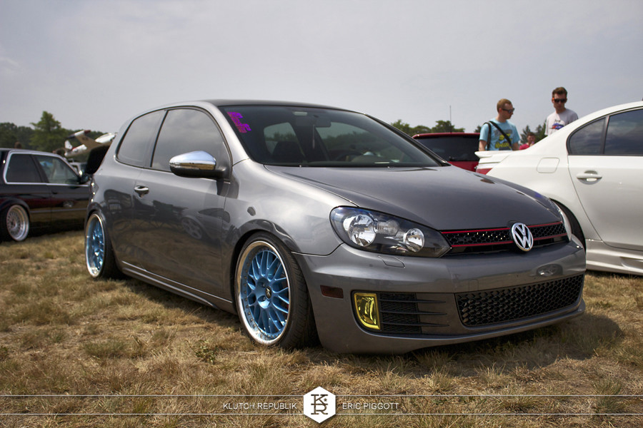 grey vw mk6 golf gti blue work wheels  at euro hanger 2012 Michigan 3pc wheels static airride low slammed coilovers stance stanced hellaflush poke tuck negative postive camber fitment fitted tire stretch laid out hard parked seen on klutch republik