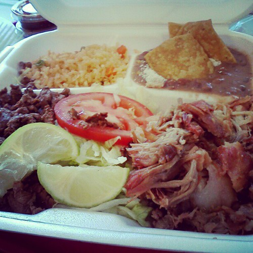 Carnitas and Carne Asada plate from El Gallo Giro