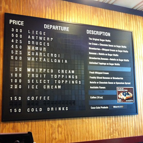 Wafflonia menu board.