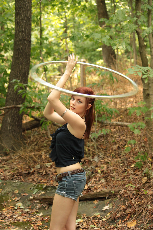 Rachel hula hooping in the Forest