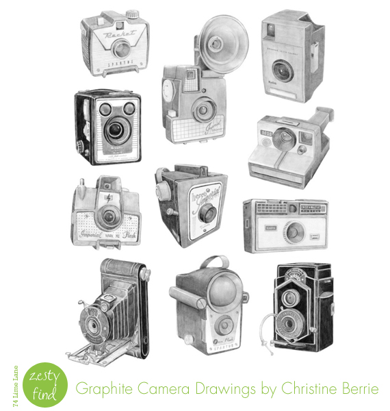 {zesty find} graphite camera drawings by Christine Berrie