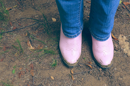 Pink cowboy boots.