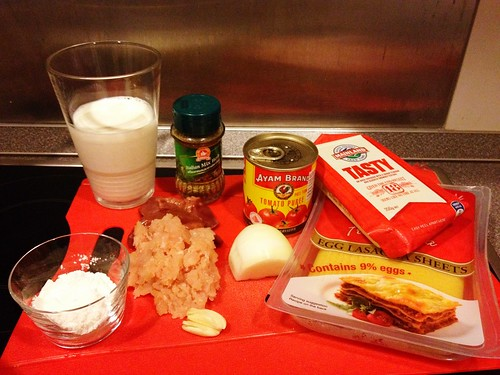 Ingredients for Chicken and Liver Lasagne