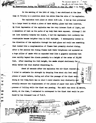 Enrico Fermis Observations at Trinity July 16 1945