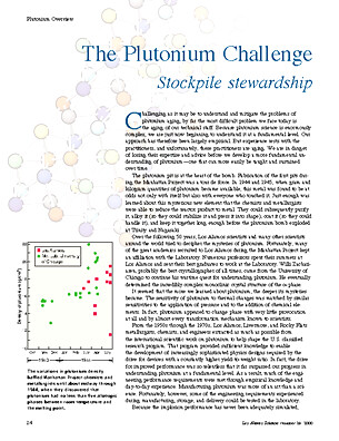 The Plutonium Challenge Stockpile Stewardship