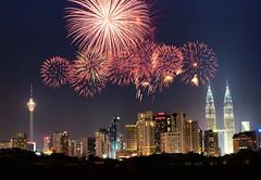 Kuala Lumpur skyline with fireworks