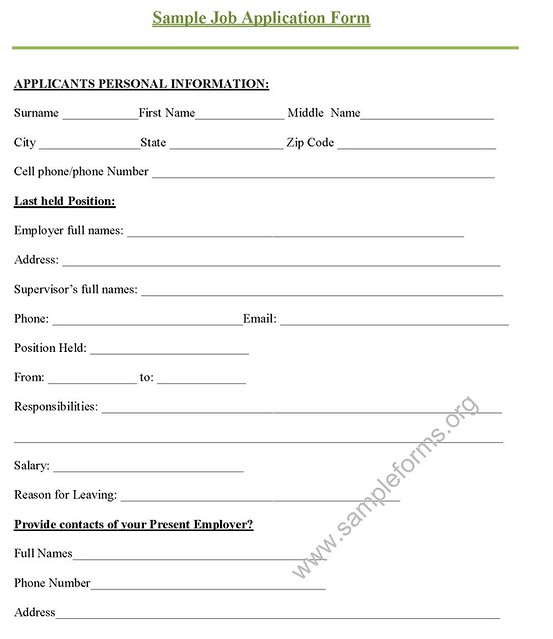 Job Application Form Sample Answers Job Application Letter
