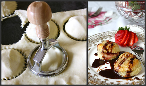 "Puff Pastry Brie & Strawberry ""Ravioli"" with Chocolate Sauce"
