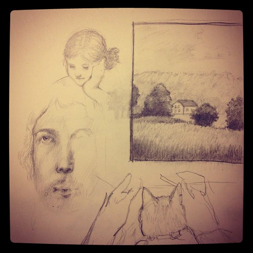 Sketchbook: Dürer portrait, Evelyn, Pressath, Cat,