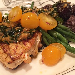 Halibut topped with a chimichurri of scallions, parsley, garlic, shallots and a drop of sriracha! With green beans, cherry tomatoes, #local #Maine purple potatoes from Beth's farm market. #itswhatsfordinner #nomnom #igersmaine #foodstagram