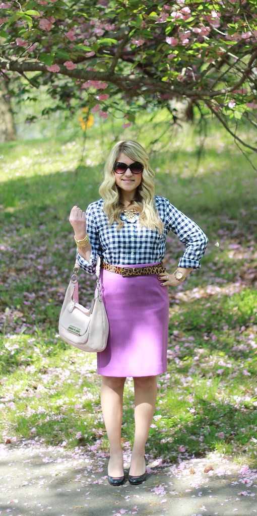 gingham and leopard teacher outfit