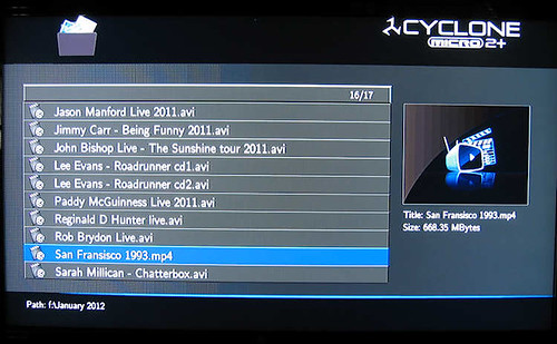 SumVision Cyclone Micro 2+ HD Media Player file selection screen