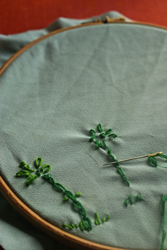 matilda's green embroidered flowers