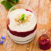 Matcha yogurt with rhubarb blackberry puree and hazelnut crumble