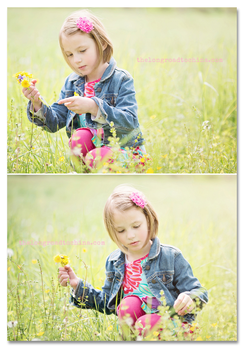 Sarah in the field picking dandelions and buttercups Collage
