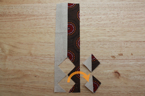 Step 4: Place template diagonally as before, with one corner touching the previous cut seam