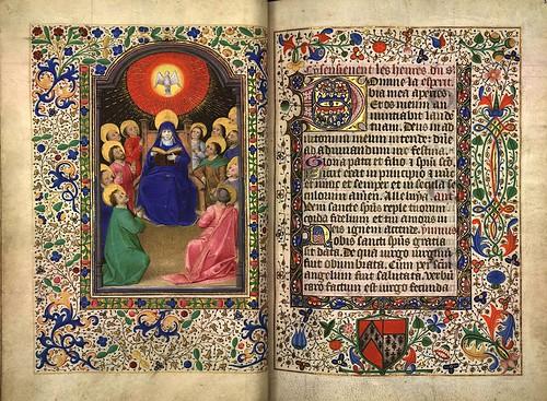 004-El santo espiritu visita a los apostoles-folio 34 verso-Heures d'Isabeau de Roubaix- Bibliothèque numérique de Roubaix  MS 6