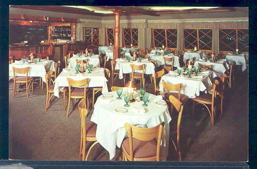 postcard interior Marquis Restaurant at 8240 Sunset Strip in Hollywood, California.