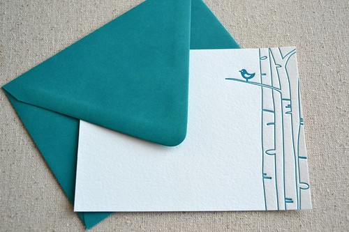 Letterpress Bird Note Cards