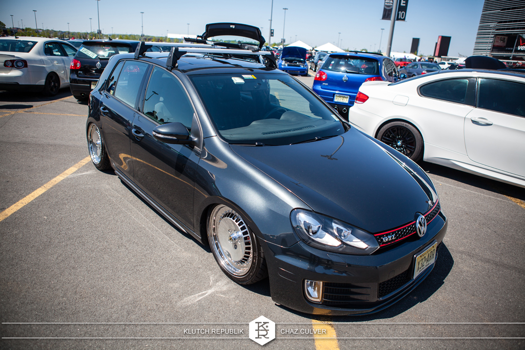 mk6 vw gti on airride and fitted on 3pc schmidt th-lines at eurofest 2012