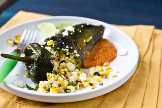 Quinoa Stuffed Poblano with Grilled Romesco