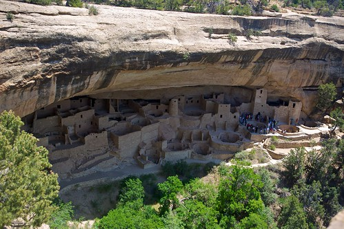 "Mesa Verde National Park. The ""Clliff Palace"". The ancient homes of Ancestral Puebloans who once lived in Mesa Verde."