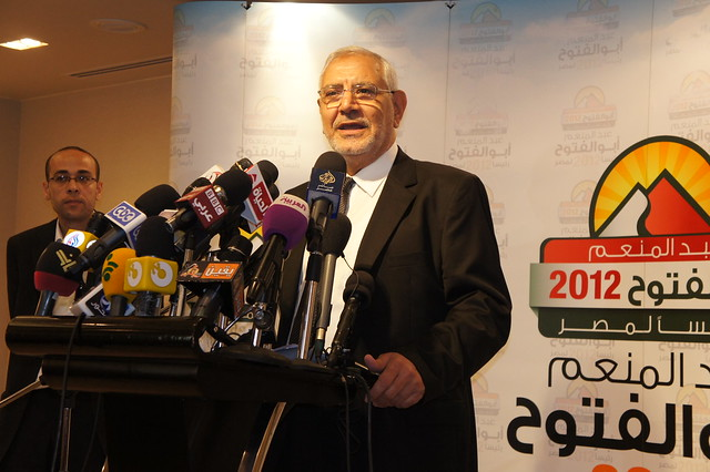 Abdel Moneim Abu El-Fotouh speaks in his presser