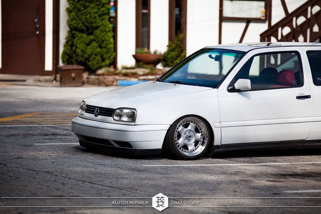 white mk3 vw gti low on 3pc schmidt wheels at southern worthersee 2012