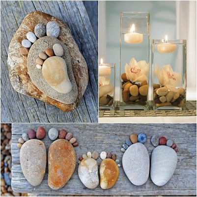 decoración con piedras de playa
