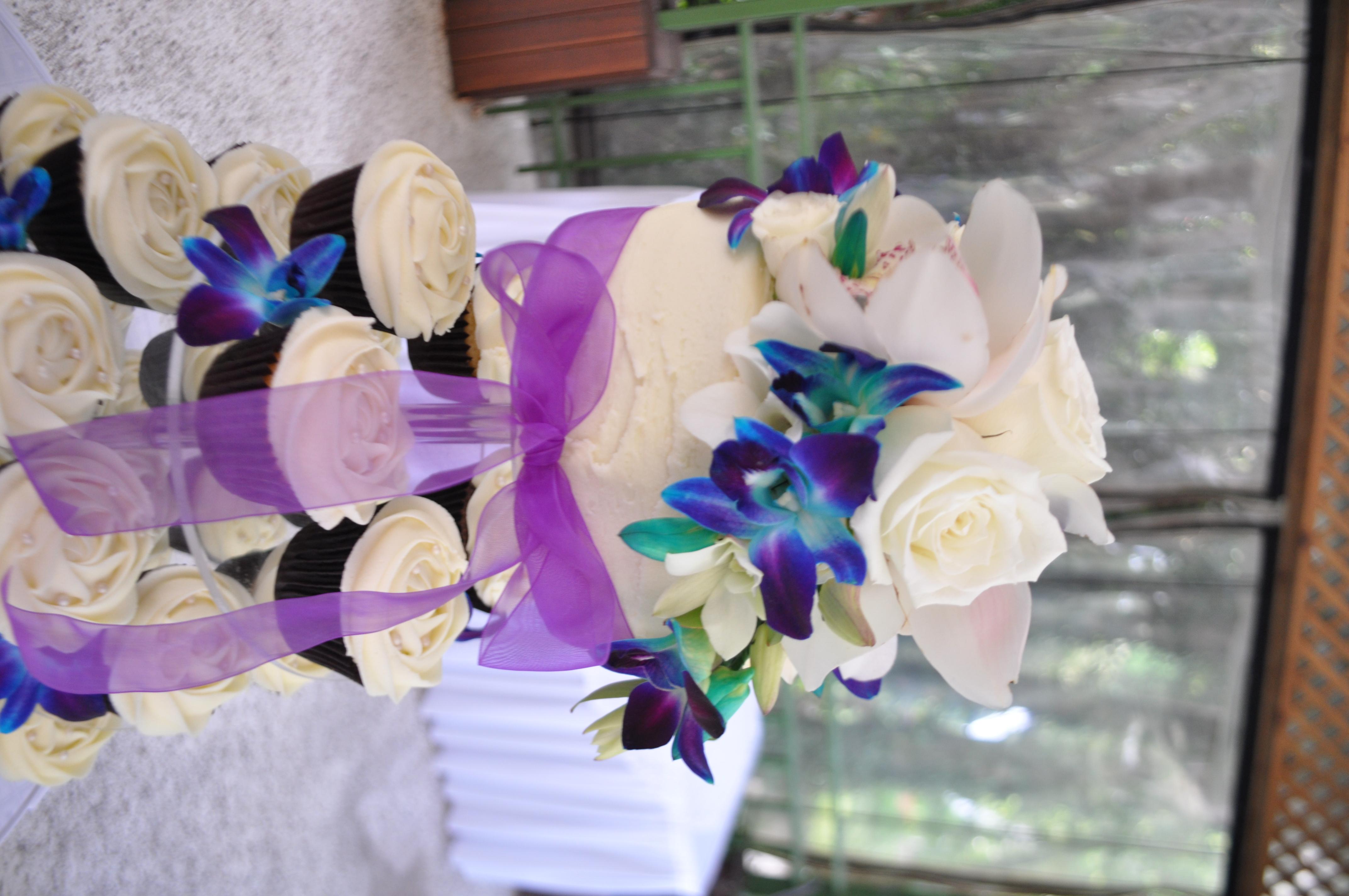 Cream purple and blue wedding cupcakes