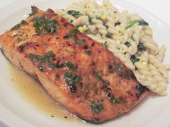 Grilled Salmon With White-Wine Sauce Over Pasta with Corn, Basil and Spinach