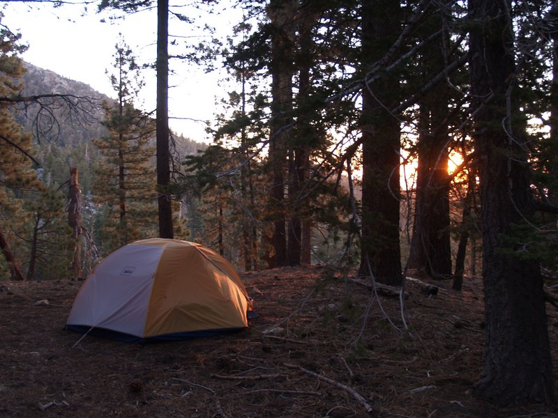REI Halfdome 2 tent at dawn in Laws Camp within the San Jacinto Wilderness