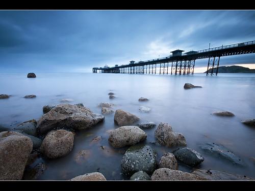 ocean blue sea sun seascape beach water misty wales landscape bay pier rocks long exposure north nd rise llandudno