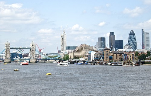 City skyline and the Olympic rings on Tower Bridge