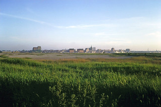 Distant view of old Rostock centre - beyond the Warnow river