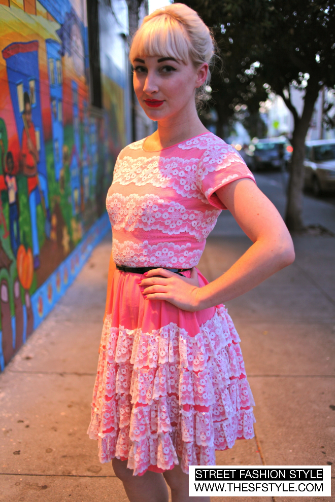lace, pink, skinny belts, san francisco, street fashion style,