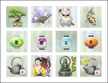 free Geisha Wonders slot game symbols