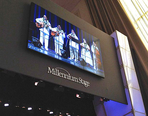 <p>The Tuahine Troupe on the big screen at The Kennedy Center, Washington, DC.</p>