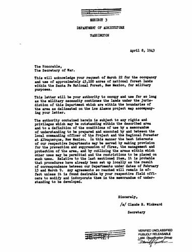 Secretary of Agriculture Granting Use of Land for Demolition Range April 8 1943