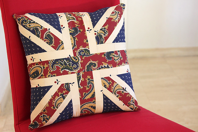 Square Union Jack patchwork cushion cover