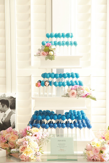Blue Ombre Cake Pop Wedding Cake