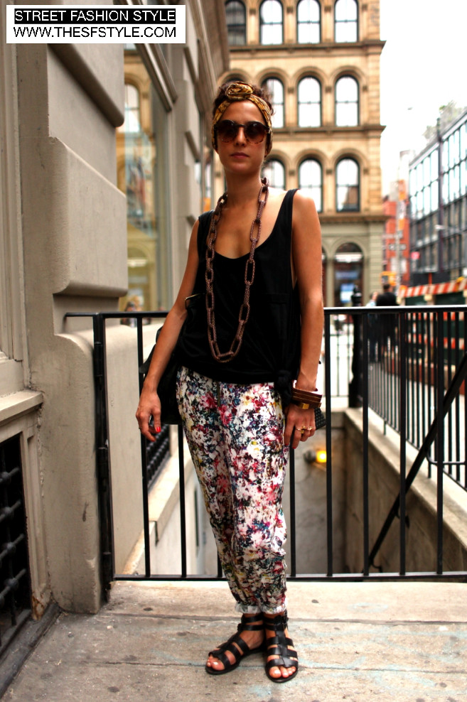 Chain Link Necklace, Chunky Wooden Bracelets, Floral Print Pants, street fashion style, sfs, nyc, new york, fashion blog,