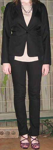 200412 111j awayfromblue cotton on 3 colour top slim trousers blazer statement necklace and heels