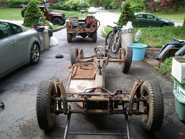 1968 VW Beetle chassis arrived, 1947 Willys Jeep CJ2A in back